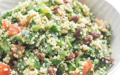 Quinoa Spinach Salad with Lemon Vinaigrette