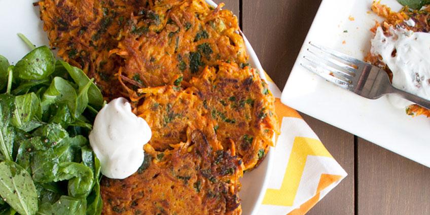 Carrot Pancakes With Lemon Herb Tahini
