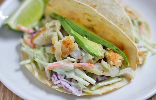 Cinco de Mayo! Fish Tacos with Broccoli Slaw and Lime Cream Sauce