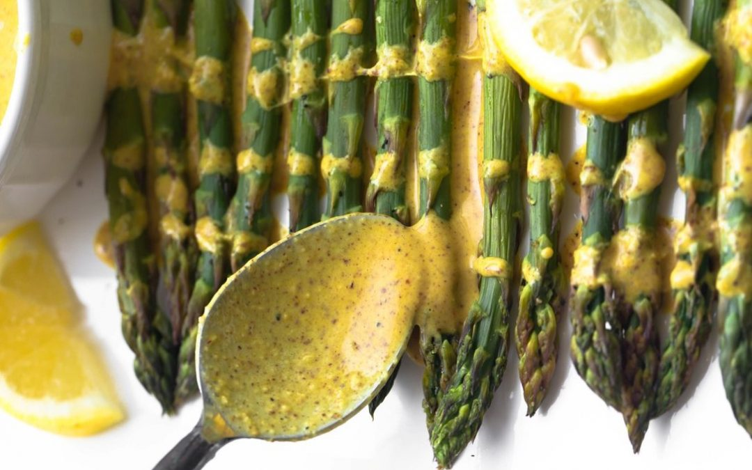 Roasted Asparagus With Lemon Ginger Sauce