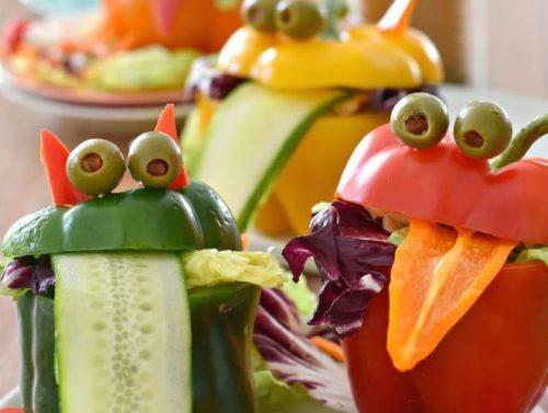 Halloween Bell Pepper Monster Salad Cups