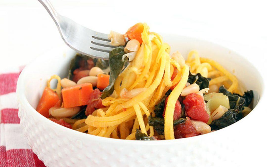 Winter Kale Vegetable Stew With Rutabaga Noodles